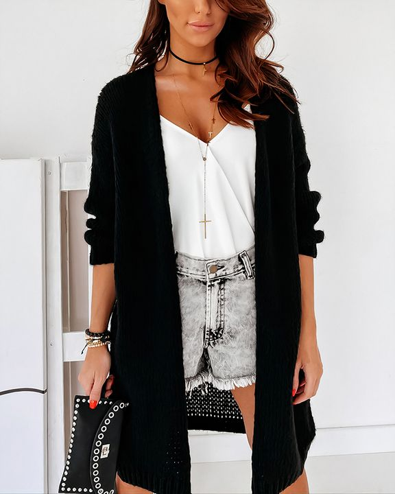 Solid Chunky Knit Drop Shoulder Open Front Cardigan gallery 11