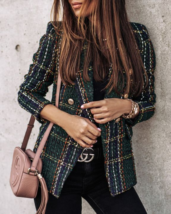 Plaid Print Double Breasted Lapel Neck Blazer gallery 10