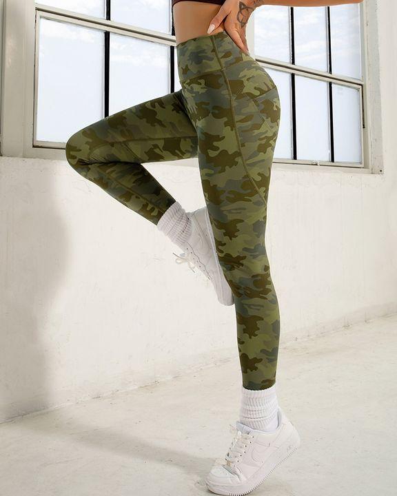 Camo Print Pocket Back Butt Lifting Sports Leggings gallery 1