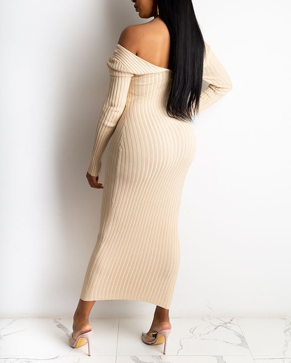 Solid Rib-Knit V Neck Form Fitted Midi Dress gallery 4