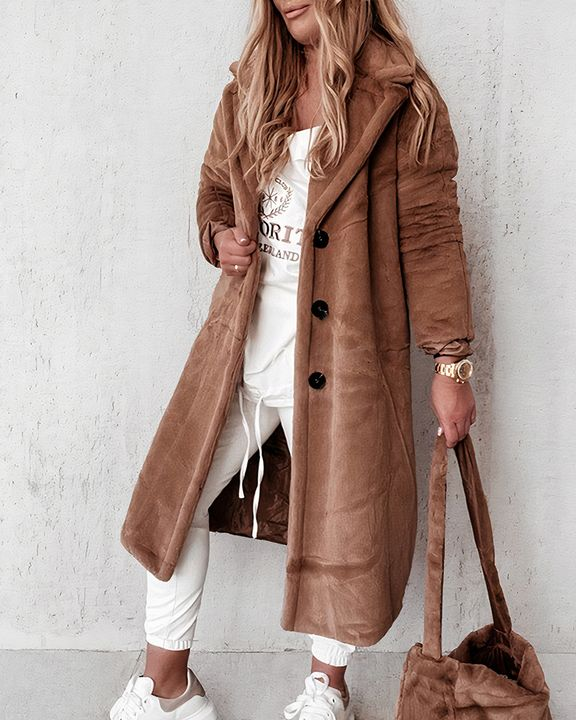 Solid Button Front Pocket Detail Teddy Coat gallery 4