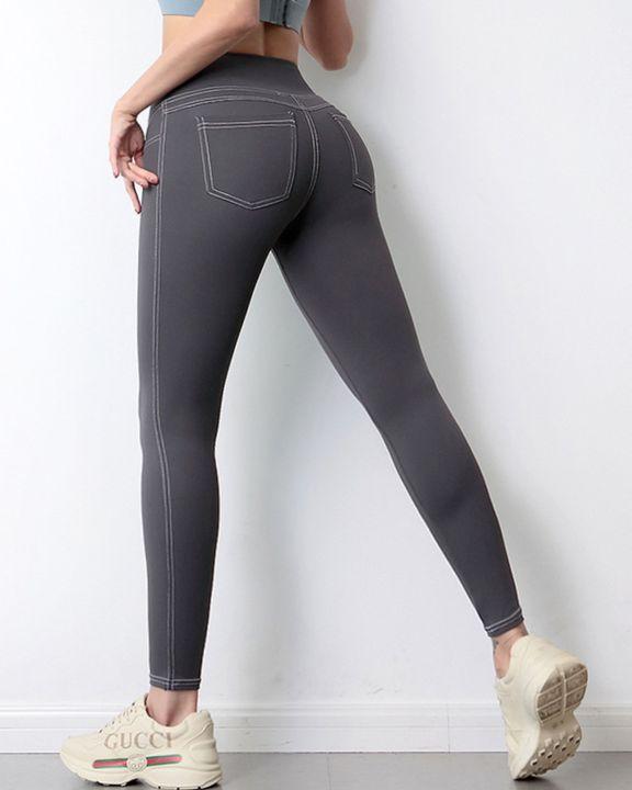 Topstitching Pocket Design High Waist Sports Leggings gallery 5