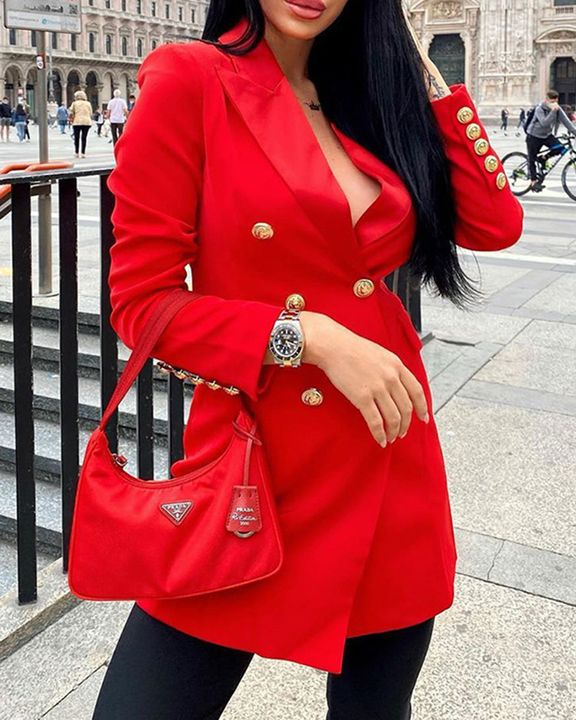 Solid Double Breasted Lapel Neck Coat gallery 1