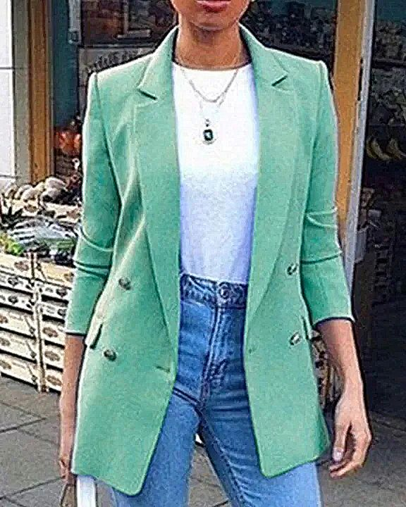 Solid Button Front Flap Pocket Lapel Neck Jacket gallery 3
