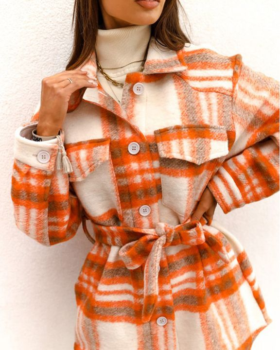 Plaid Button Up Self Belted Flap Pocket Coat gallery 2