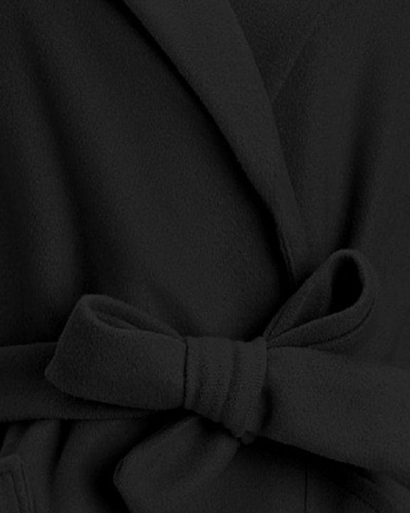 Tie Waist Dual Pocket Lapel Neck Coat gallery 10