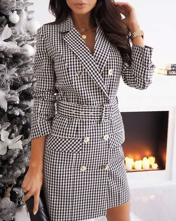 Plaid Print Buckle Belt Flap Pocket Double Breasted Coat gallery 3
