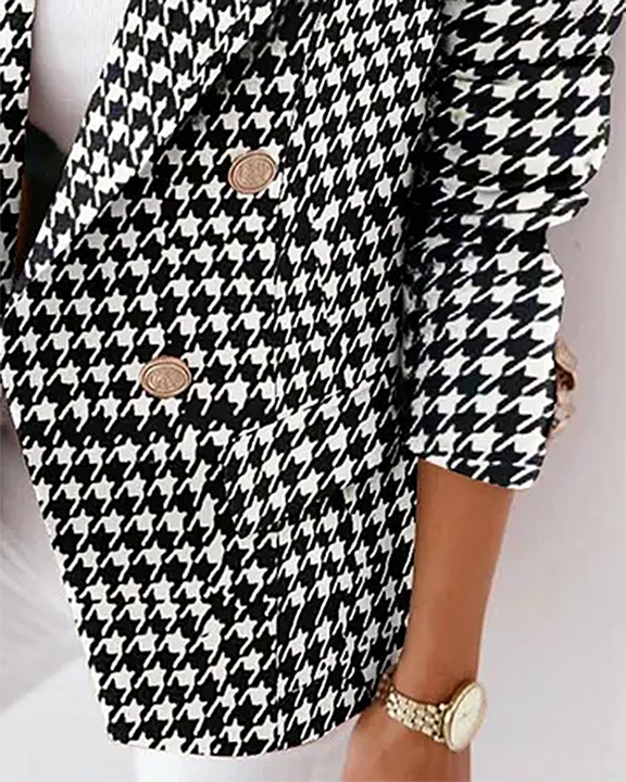 Houndstooth Double Breasted Lapel Neck Blazer gallery 3