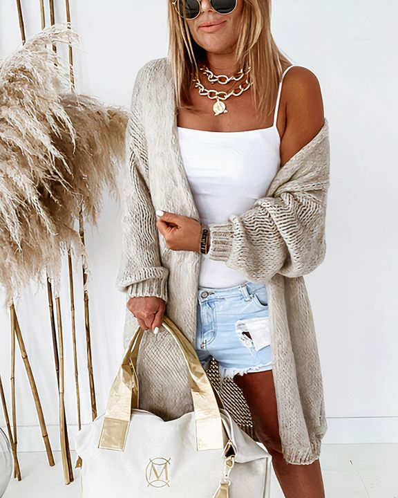 Solid Chunky Knit Drop Shoulder Open Front Cardigan gallery 8
