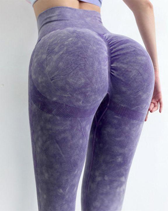 Tie Dye Scrunch Butt Wide Waistband Sports Leggings  gallery 3