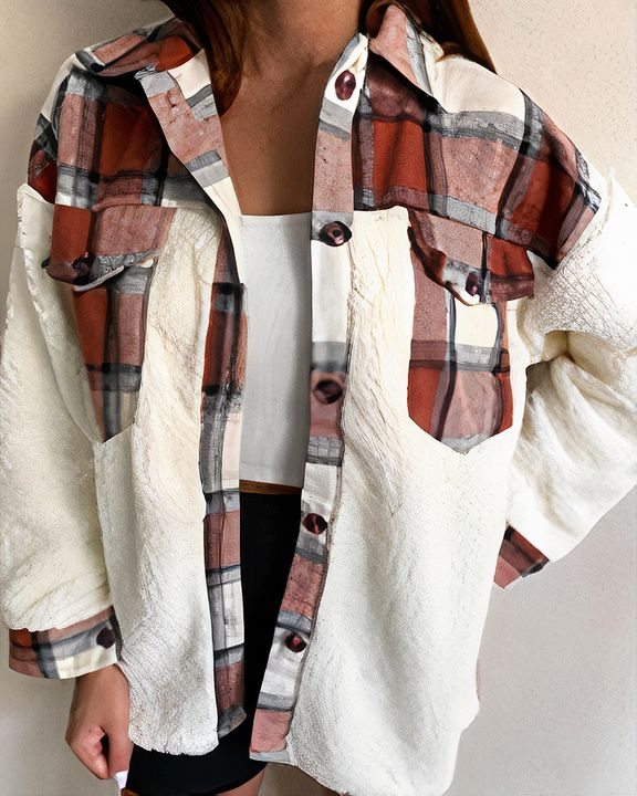 Plaid Print Button Front Flap Pocket Teddy Coat gallery 3