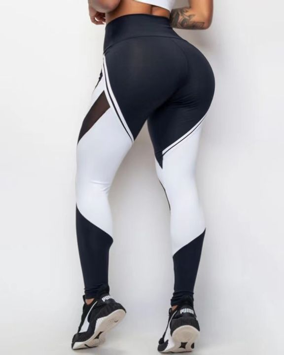 Two Tone Mesh Insert Wide Waistband Sports Leggings gallery 3