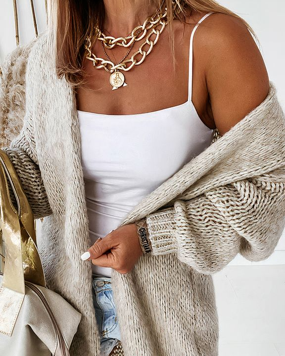 Solid Chunky Knit Drop Shoulder Open Front Cardigan gallery 1