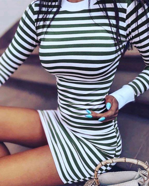 Striped Round Neck Long Sleeve Bodycon Mini Dress gallery 2