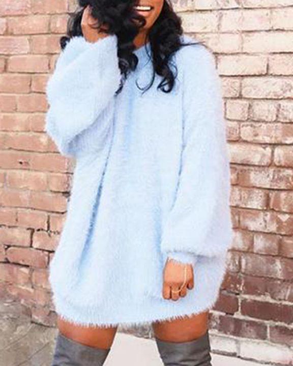 Solid Fuzzy Round Neck Mini Sweater Dress gallery 2