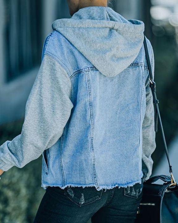 Raw Edge Drawstring Flap Pocket 2 In 1 Hooded Denim Jacket gallery 11