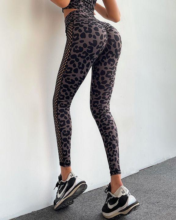 Leopard Print Fishnet Side Scrunch Butt Sports Leggings gallery 4
