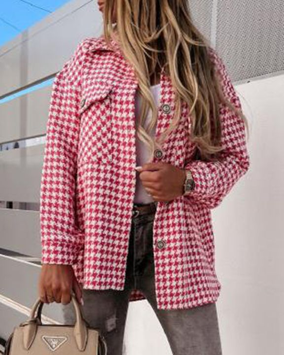 Houndstooth Pattern Button Up Flat Pocket Jacket gallery 5