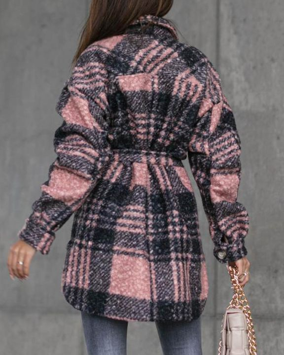 Plaid Print Button Through Pocket Detail Belted Coat gallery 8