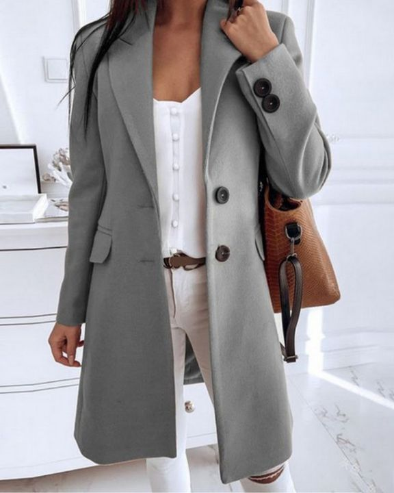 Double Breasted Pocket Detail Lapel Neck Knee Length Coat gallery 3