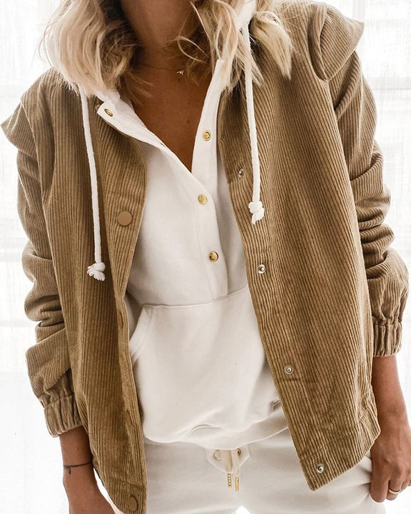 Solid Shoulder Padded Button Up Stand Collar Cord Coat gallery 1