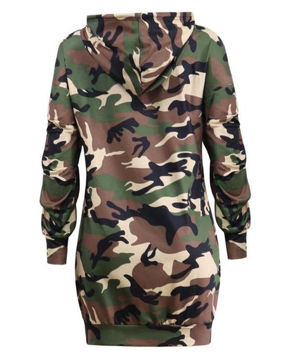 Camo Drawstring Kangaroo Pocket Front Hooded Mini Dress gallery 4