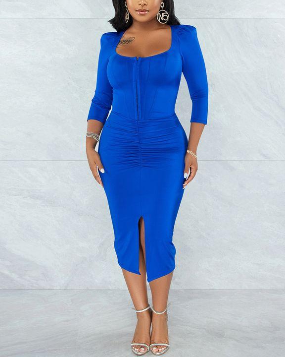 Solid Ruched Zip Front Split Hem Bodycon Midi Dress gallery 1