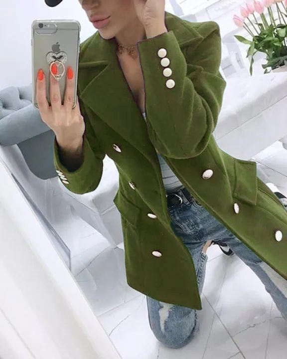 Solid Double Breasted Pocket Detail Coat gallery 1