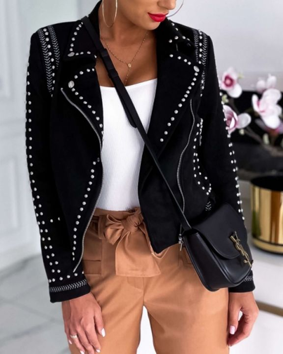 Solid Studded Zip Front Pocket Detail Moto Jacket gallery 3