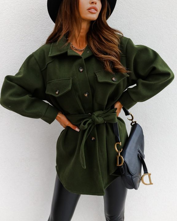 Solid Button Up Belted Flat Pocket Coat gallery 1