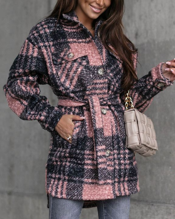 Plaid Print Button Through Pocket Detail Belted Coat gallery 9