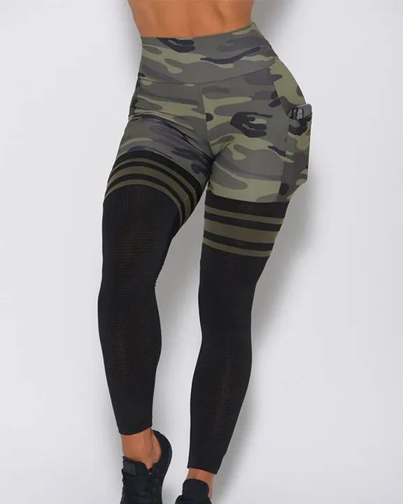 Camo Colorblock Wide Waistband Sports Leggings gallery 2