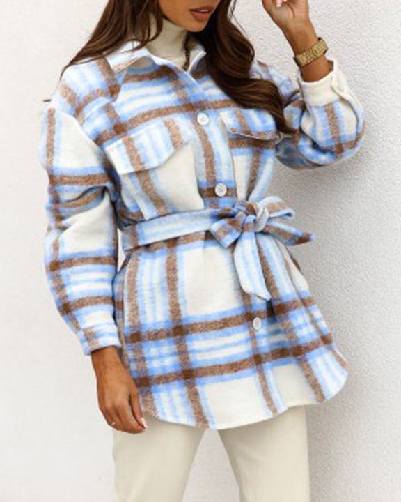 Plaid Button Up Self Belted Flap Pocket Coat gallery 7
