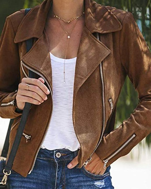 Lapel Neck Zip Up Form Fitting Jacket gallery 1