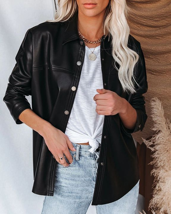 PU Leather Button Up Jacket gallery 4