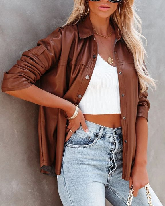 PU Leather Button Up Jacket gallery 1