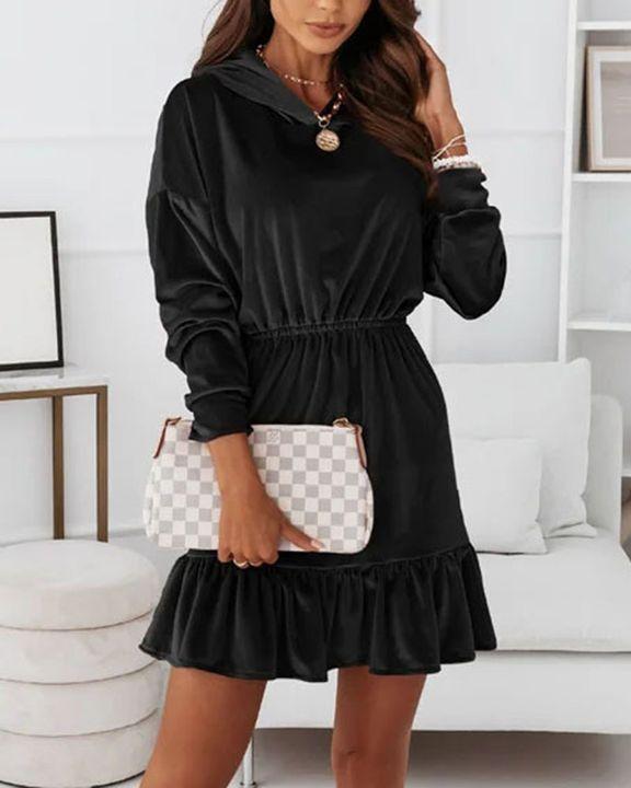Velvet Solid Ruffle Hem Elastic Hooded Mini Dress gallery 8