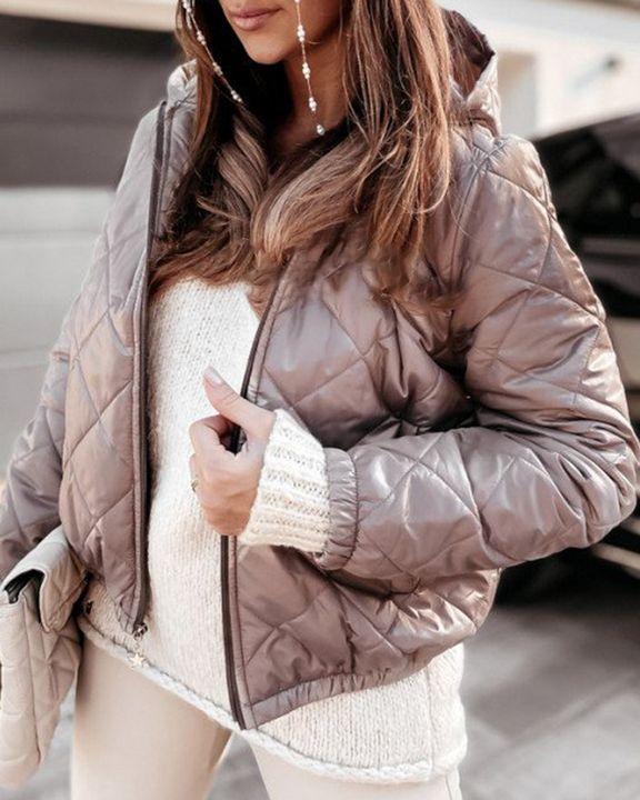 Argyle Quilted Zip Up Elastic Hem Hooded Jacket gallery 9