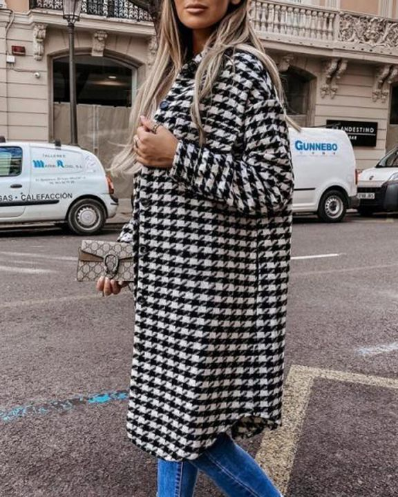 Houndstooth Pattern Button Up Curved Hem Coat gallery 7