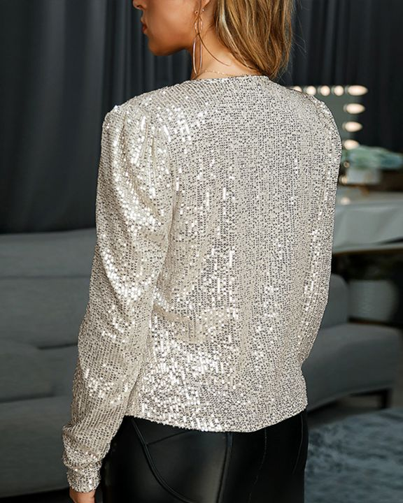 Solid Sequin Decor Open Front Jacket gallery 4