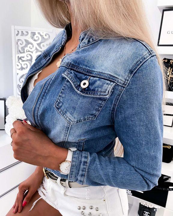 Zip Front Flap Pocket Denim Jacket gallery 2