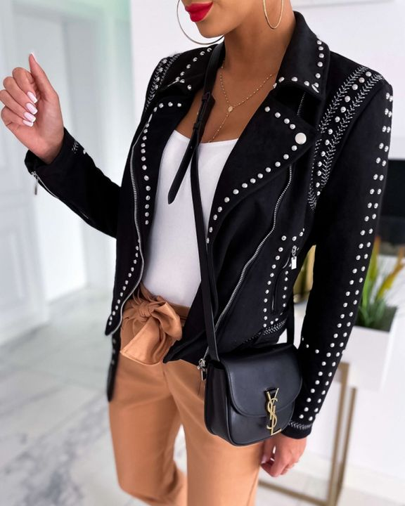Solid Studded Zip Front Pocket Detail Moto Jacket gallery 1