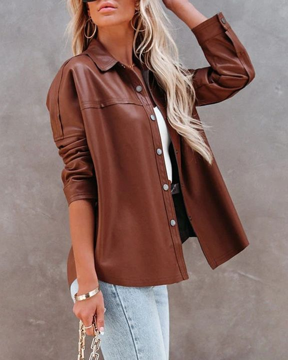 PU Leather Button Up Jacket gallery 18