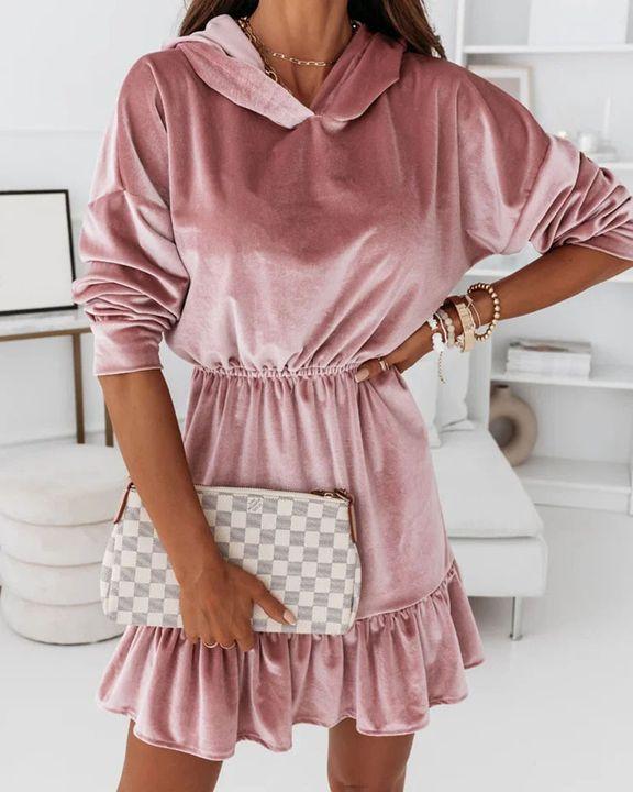 Velvet Solid Ruffle Hem Elastic Hooded Mini Dress gallery 1