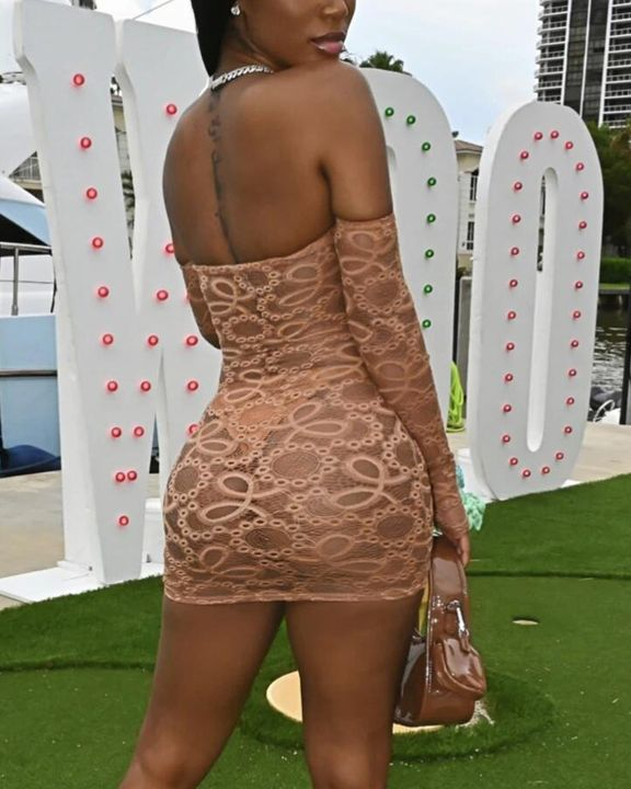 Solid Eyelet Embroidery Sheer Thumb Hole Off Shoulder Mini Dress With Panty gallery 5