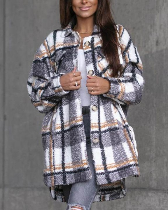 Plaid Print Button Through Pocket Detail Belted Coat gallery 11