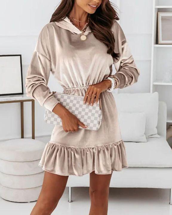 Velvet Solid Ruffle Hem Elastic Hooded Mini Dress gallery 3