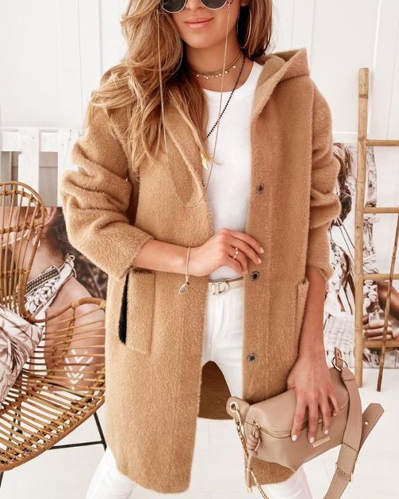 Colorblock Button Up Patch Pocket Teddy Coat gallery 6