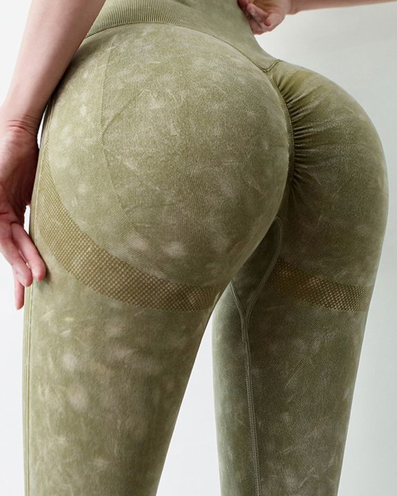 Tie Dye Scrunch Butt Wide Waistband Sports Leggings  gallery 6