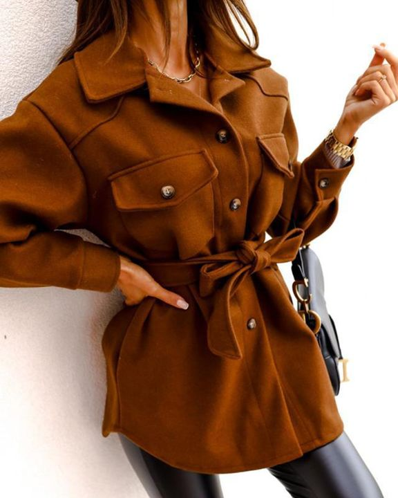 Solid Button Up Belted Flat Pocket Coat gallery 11